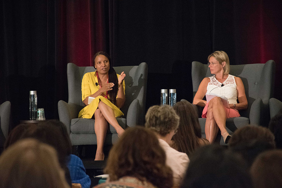 Nicole Poindexter (left), CEO of Energicity, participates in a panel about clean energy technologies in emerging markets. Also pictured is panelist Cathy Zoi, CEO of Axess Energy. Photo: MITEI Office of Communications